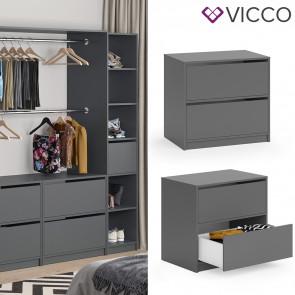 Vicco Schubladen 2er Set groß für Kleiderschrank Visit Schubladenset Kommode