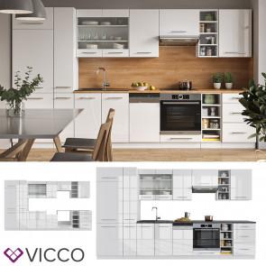 Vicco Küchenzeile Küchenblock Einbauküche 355cm Fame-Line Weiß Hochglanz