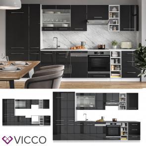 Vicco Küchenzeile Küchenblock Einbauküche 355cm Fame-Line Anthrazit Hochglanz
