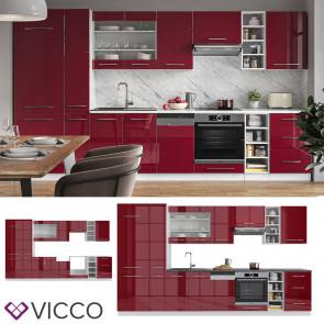 Vicco Küchenzeile Küchenblock Einbauküche 355cm Fame-Line Bordeaux Hochglanz