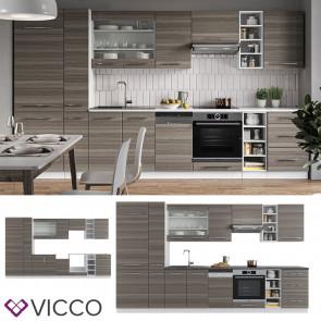 Vicco Küchenzeile Küchenblock Einbauküche 355cm Fame-Line Edelgrau
