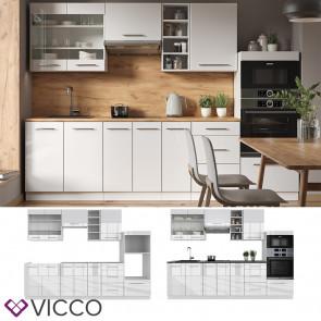 Vicco Küchenzeile Küchenblock Einbauküche 280cm Fame-Line Weiß Hochglanz