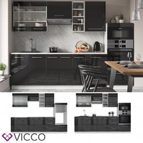 Vicco Küchenzeile Küchenblock Einbauküche 280cm Fame-Line Anthrazit Hochglanz