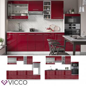 Vicco Küchenzeile Küchenblock Einbauküche 280cm Fame-Line Bordeaux Hochglanz