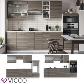 Vicco Küchenzeile Küchenblock Einbauküche 280cm Fame-Line Edelgrau