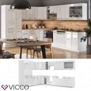 Vicco Eckküche Fame-LINE Küchenzeile Küche 257x347 cm Weiß Hochglanz