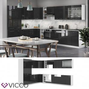 Vicco Eckküche Fame-LINE Küchenzeile Küche 257x347 cm Anthrazit Hochglanz