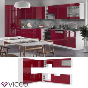 Vicco Eckküche Fame-LINE Küchenzeile Küche 257x347 cm Bordeaux Hochglanz
