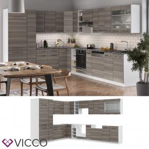 Vicco Eckküche Fame-LINE Küchenzeile Küche 257x347 cm Edelgrau