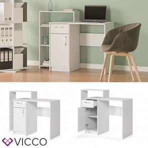 Vicco Schreibtisch mit Regal Alvar Weiß Raumteiler Computertisch Arbeitstisch