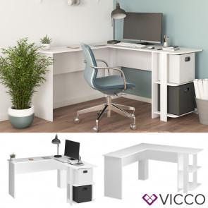 Vicco Eckschreibtisch Schreibtisch Bürotisch Nikita 140x140cm weiß Computertisch