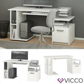 Vicco Schreibtisch Computertisch Bürotisch Jakob weiß Ablagen Beistellschrank