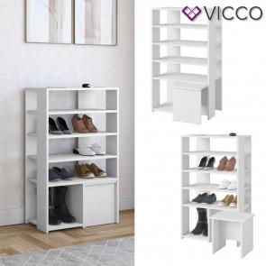 Vicco Schuhschrank Schuhregal Schuhaufbewahrung Sevin Weiß Sitzhocker 5 Ebenen