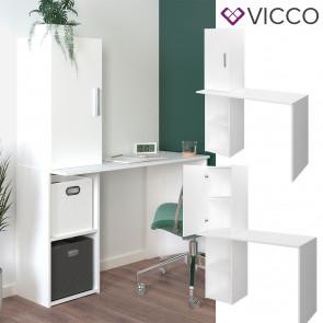 Vicco Schreibtisch Bürotisch Arbeitstisch Aulus weiß Aktenschrank 4 Ablagen