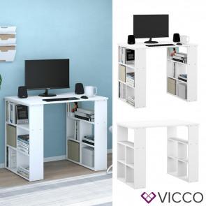 Vicco Schreibtisch Bürotisch Arbeitstisch Arwen weiß 8 Fächer 2 Ablagen