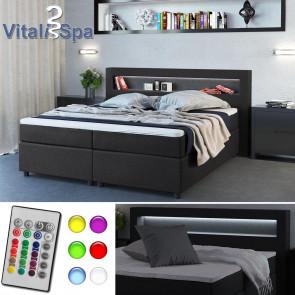 VitaliSpa Design Boxspringbett Doppelbett Ehebett anthrazit LED