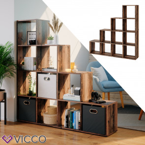 Vicco Treppenregal Raumteiler Stufenregal 10 Fächer Old Style - Bücherregal