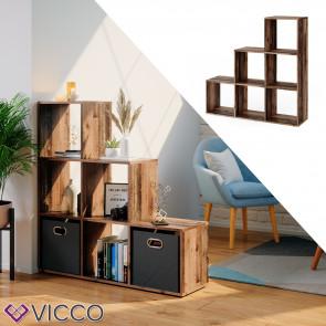 Vicco Treppenregal Raumteiler Stufenregal 6 Fächer Old Style - Bücherregal