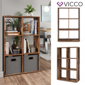 Vicco Raumteiler Standregal Bücherregal 6 Fächer Regal  Old Style Hochregal