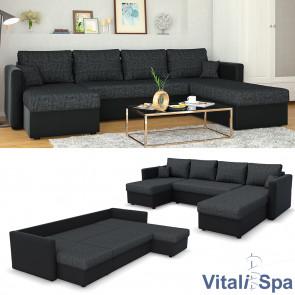 VitaliSpa Wohnlandschaft mit Schlaffunktion Schwarz-Grau