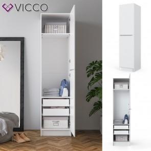 VICCO Kleiderschrank COMFORT offen Einlegeboden weiß 50x200x50 cm Tür Schubladen