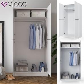 VICCO Kleiderschrank COMFORT offen Einlegeboden weiß 100x200x50 cm Kleiderstange