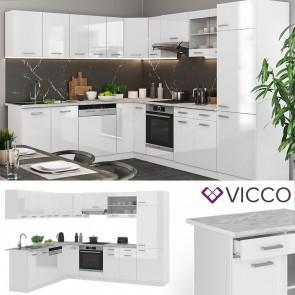 VICCO  Eck Küche R-Line Weiß hochglanz + Arbeitsplatten