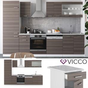 VICCO Küche R-Line 300 cm Edelgrau