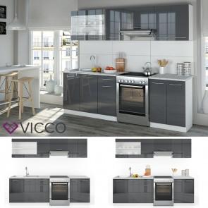 VICCO Küchenzeile 240cm Anthrazit Hochglanz R-Line