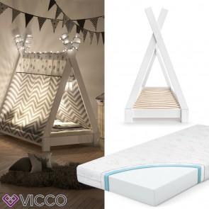 VICCO Kinderbett TIPI Indianer Bett Kinderhaus Zelt Holz Hausbett 70x140cm Weiß inkl. Kindermatratze mit Komfortschaum-Kern