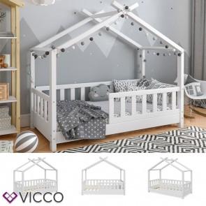 VICCO Hausbett DESIGN 70x140cm Holz Weiß Zaun