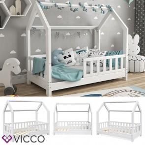 VICCO Hausbett WIKI 70x140cm Holz Weiß