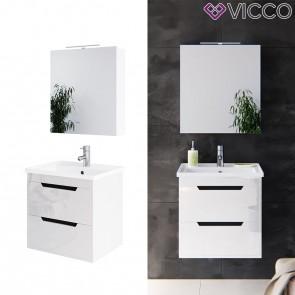 VICCO Badmöbel Set GRETA 60 cm Weiß Hochglanz - Bad Waschtisch Spiegelschrank