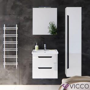 VICCO Badmöbel Set GRETA 60 cm Weiß Hochglanz - Bad Waschtisch Spiegelschrank Badhochschrank