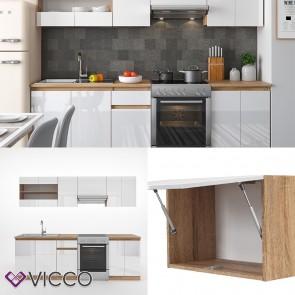 Küchenzeile Raul 240cm Weiß Hochglanz mit Push to open Funktion