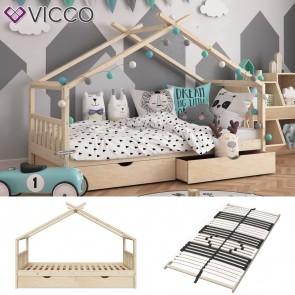 VICCO Hausbett DESIGN 90x200 inkl Schubladen Unbehandelt