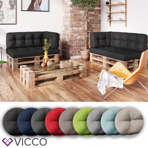 VICCO 3er Palettenkissen Set Sitzkissen Rückenkissen Palettenmöbel Flocke