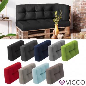 VICCO Palettenkissen Rückenkissen klein 60x40cm Seitenkissen Flocke