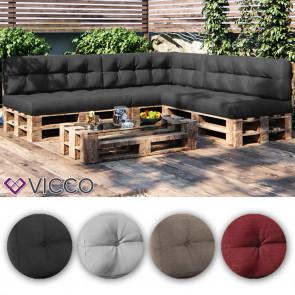 VICCO 7er Palettenkissen Set Sitzkissen Rückenkissen Palettenmöbel PU Schaum