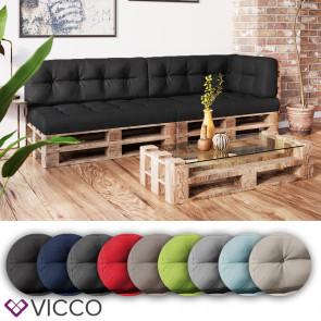 VICCO 5er Palettenkissen Set Sitzkissen Rückenkissen Palettenmöbel Flocke
