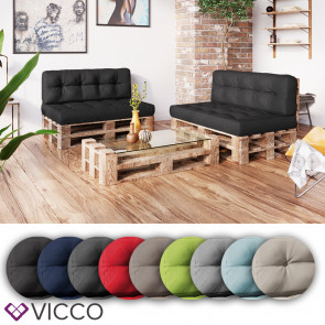 VICCO Palettenkissen Set Sitzkissen + Rückenkissen Palettenmöbel Flocke