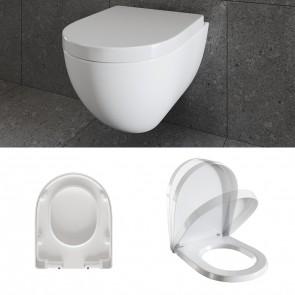 WC Sitz Toilettensitz Toilettendeckel Kunststoff Absenkautomatik Deckel D-Form