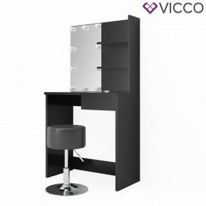 VICCO Schminktisch DEKOS Schwarz mit Hocker und LED-Beleuchtung